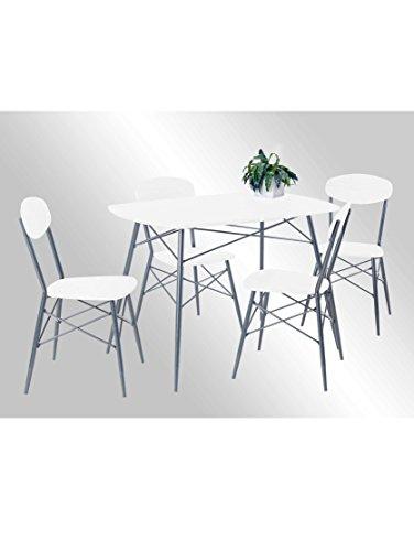 Reality Import Lara Essgruppe (5-TLG.) Tisch + 4 Stühle Metall Weiß 110 x 70 x 75 cm