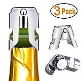 Kimimara Flaschenverschluss für Sekt- Champagner- und Prosecco-Flaschen aus Edelstahl, 3er-Pack Sektverschluss, Wiederverwendbar Sektflaschenverschluss