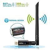 Aoyool WiFi Adapter 1200Mbit/s (5.8G/867Mbps+2.4G/300Mbps), WLAN Adapter USB3.0 Wireless Adapter für Windows, Mac OS X, PC/Desktop/Laptop