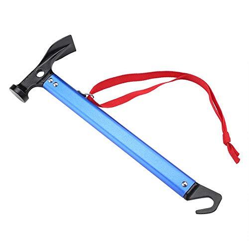 FAPPEN Outdoor-Hammer, Leicht- und Multifunktionshammer mit Zeltpflockentferner, ideal zum Wandern, Camping und für andere Outdoor-Aktivitäten - Blau