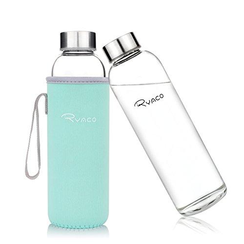 Ryaco Glasflasche Trinkflasche Classic 550ml BPA-frei Glasflasche für Unterwegs Sport Flasche Glas Flasche Water Bottle Wasserflasche Trinkflasche aus Glas zum Mitnehmen heiß kalt Getränke Perfekt für Yoga, Wandern, Büro (Minze Grüne)