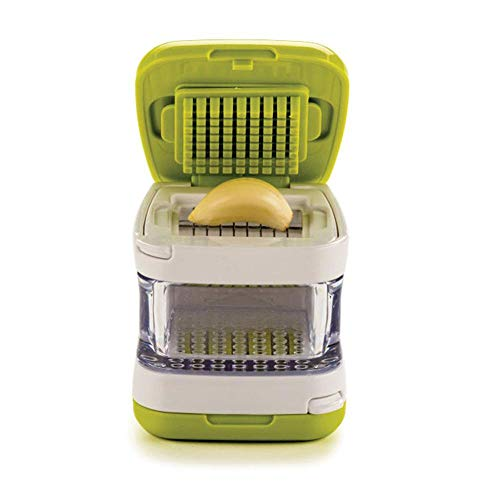 FOONEE Mini Knoblauchpresse, Premium Edelstahl Ingwer-Knoblauchpresse, 3-in-1 Würfel-Knoblauchschneider, Küchenutensilien