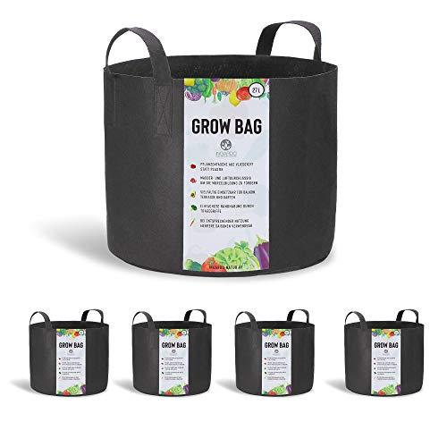 INGARDO Pflanzsack aus Vliesstoff - die gesunde Alternative zu Plastiktöpfen - Pflanztaschen 5er Set á 27L