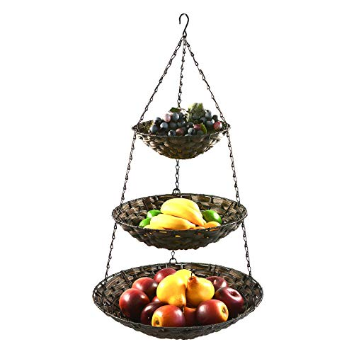 maDDma  Hänge-Etagere 3 Etagen Hängekorb Hängeampel Obstkorb Gemüse-Ampel Korb z. Hängen, Farbe:Brauntöne