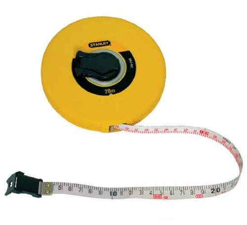Stanley Kapselbandmass Fiberglas (30 m Länge, ABS-Kunststoffgehäuse, klappbare Kurbel, Band beschichtet) 0-34-297