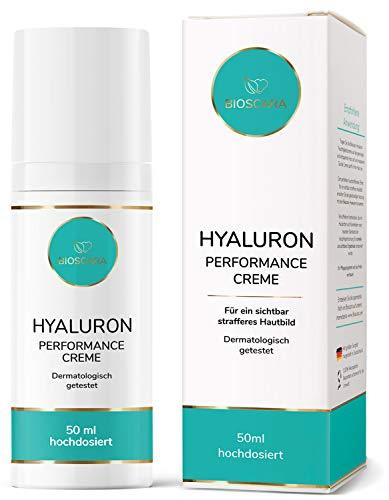 EINFÜHRUNGSPREIS: Bioscara Hyaluron Performance Creme 50ml hochdosiert I Hyaluronsäure Anti Aging Creme mit Vitamin E Collagen Peptiden und Astaxanthin für ein sichtbar strafferes Hautbild