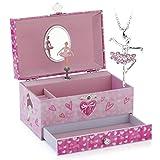 RPJC Kinder Musik - Glocke Schmuckkästchen - Box Speichern mit Schublade und Ballett Halsketten mit Hübsches Mädchen Thema - Wunderschön Träumer Tune Pink