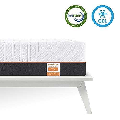 Inofia Matratze 100x200 Gelschaum Matratze RG50 Memory Foam Matratze H3 Höhe 22cm Naturbrown,waschbar Bezug für Allergiker,ÖKO-TEX 100,100 Nächte Probeschlafen,10 Jahre Garantie(100 x 200 cm)