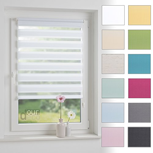 ourdeco Doppel-Rollo, Duo-Rollo / 70 x 160 cm pastellgrün / lichtdurchlässig, blickdicht / Klemmen=Montage ohne Bohren=Smartfix=Klemmfix=Easy-to-fix