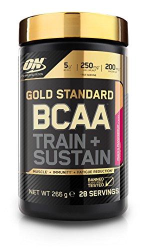 Optimum Nutrition Gold Standard BCAA- Verzweigtkettige Aminosäuren (mit Vitamin C, Wellmune, Rhodiola rosea und Elektrolyten, BCAA Pulver von ON) Peach und Passionfruit, 28 Portionen, 266g