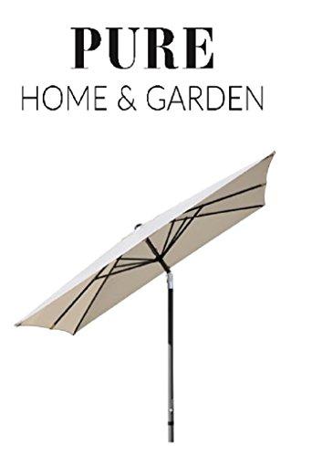 Pure Home & Garden Kurbelschirm '300x300 natur', mit UV-Schutz 40 Plus, Knicker und abnehmbarem Bezug