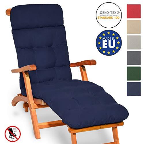 Beautissu Auflage für Deckchair Flair DC 200x50x8cm Liege-Stuhl Polster-Auflage mit Schaumflockenfüllung Dunkelblau