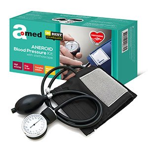 Amed Manuell Aneroid Blutdruckmessgerät mit Stethoskop, Pumpball, Manometer, Manschett