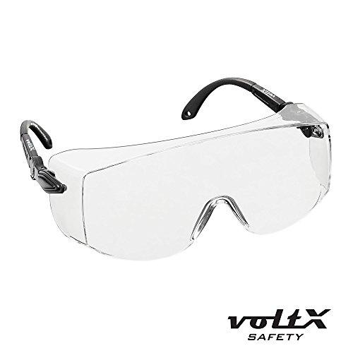 voltX 'OVERSPECS' Gewerbliche Schutzbrille für Brillenträger im Industriewesen - CE EN166f zertifiziert (klare Scheibe) - individuell anpassbarer Bügel - beschlagfrei, kratzfest, UV380 Schutz - Safety Overglasses