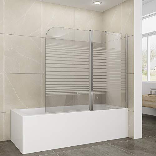 Elegant Elegant Duschwand für Badewanne mit Milchglas Streifen, 120x140cm, 2-teilig faltbar