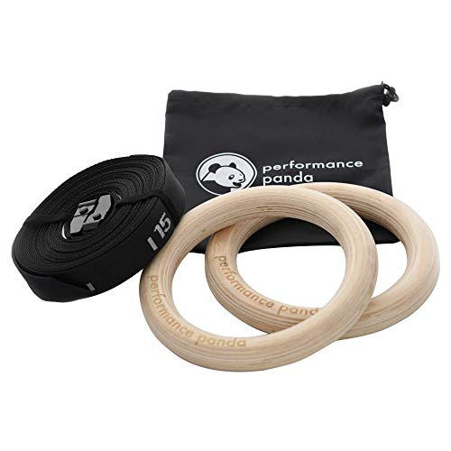 performance panda Turnringe aus Birkenholz 32mm mit Gurten | PremiumGymnastik-RingefürTurnen Crossfit Calisthenics