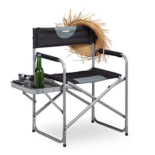 Relaxdays Regiestuhl, klappbarer Campingstuhl für Garten, Festival & Angeln, Tisch mit Getränkehalter, schwarz
