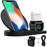 Wonsidary Fast Wireless Charger, Wireless Ladegerät Ladestation Silikon 3 in 1 für iPhone AirPods Apple Watch 3/2/1, iPhone XS/XS Max/XR/X/ 8/8 Plus, Samsung Galaxy, alle Qi-fähigen Telefone