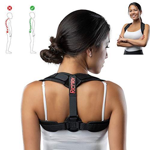 Geradehalter zur Haltungskorrektur | Rückenstütze Rückenbandage | Haltungstrainer Haltungskorrektur für Damen und Herren Größenverstellbar (gepolstert)
