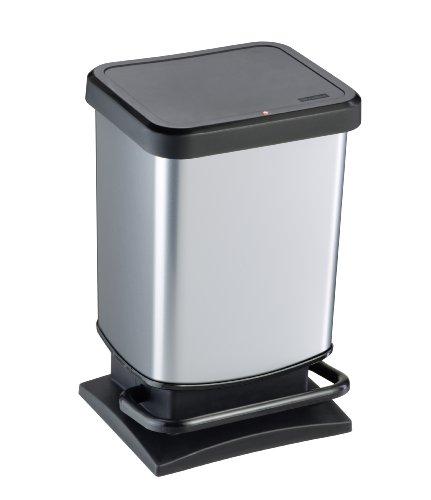 """Rotho Mülleimer """"Paso"""" 20 Liter│ geruchssicherer Abfalleimer - 29.3x26.6x45.7cm│ Papierkorb aus Kunststoff (PP) in Edelstahl-Optik │ Tretmechanismus zum Öffnen des Abfallbehälters"""