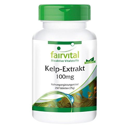 Kelp-Extrakt 100mg , natürliche Jod-Quelle mit 150mcg Jod/ 100% NRV, aus dem Nord-Atlantik, 250 vegane Tabletten, Großpackung