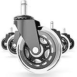 FloweryOcean 5er Set Premium Bürostuhl Räder für Harte Böden - Calm ohne Kratzer Swivel Räder 11x22 mm Radsatz Caster Räder für Ihr Zuhause oder Büromöbel