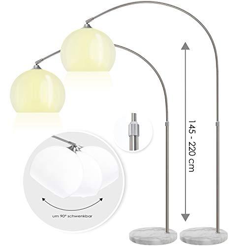 KESSER Bogenlampe mit standfestem Marmorfuß höhenverstellbar 146-220cm weiß - Fußschalter - Stehlampe Stehleuchte Bogenleuchte Bogenstandleuchte Standleuchte Lounge RETRO Design weiß