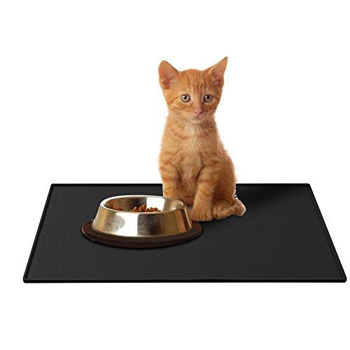 Napfunterlage Hund, Parsion Katzen-fressnäpfe Futtermatte für Haustier, Silikon wasserdicht Anti-Rutsch FDA Tiernahrung-Matte Katzen-zubehör Fuss-matte