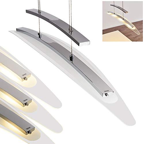 Gebogene Hängeleuchte Frimmer, dimmbar und höhenverstellbar, LED-Pendellampe mit Touch-Dimmer, Pendelleuchte mit Lampenschirm aus satiniertem Glas 4 LED à 5 Watt, 3000 Kelvin, höhenverstellbar