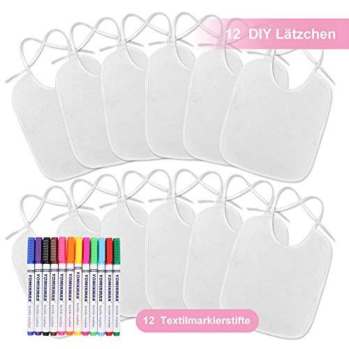 Ealirie Baby Weiße Lätzchen zum Bemalen Ideal zum Selbst Gestalten und Bemalen 12 Stück Lätzchen Textilstiften 26x30cm