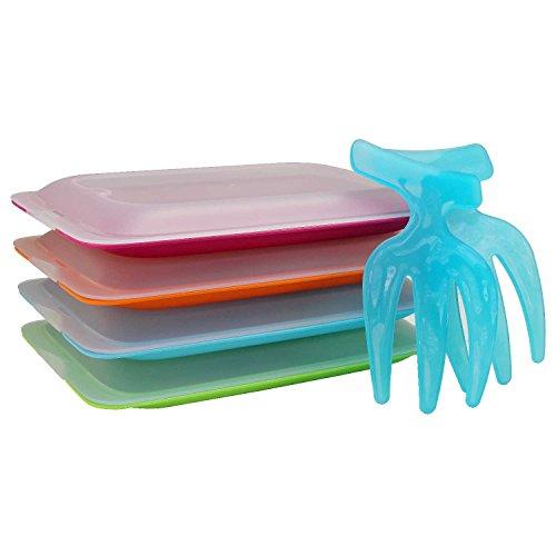 Hochwertige Aufschnitt-Boxen 4er Set platzsparend stapelbar ( Stapelboxen ) Vorratsdosen-Set Aufschnitt integrierte Servierplatte. Foodcenter Frischhaltedosen Kühlschrank mit Salatgreifer-Set