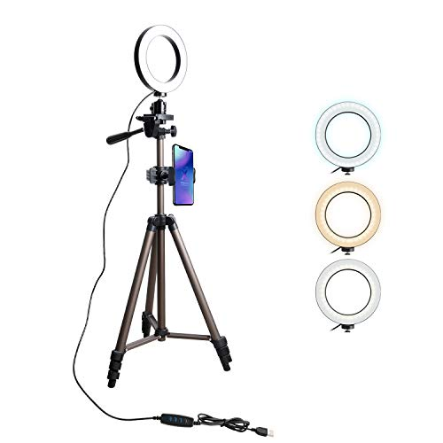 Tryone Ringlicht Ringleuchte Handy Stativ - Live Stream Ständer Dreibeinstativ mit 6 Zoll dimmbare LED Ringlicht für YouTube Vine Selfie oder Makeup