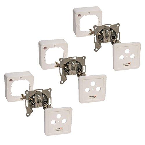 3x PremiumX PX3 Sat Dose 3-Fach Enddose Antennendose Einzel- und Stichleitungsdose Auf- und Unterputz