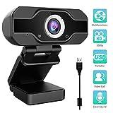 Aiglam Webcam, 1080P Full HD PC Kamera mit Mikrofon USB,H.264-Komprimierung Schnellere Uploads,für Video Chat Streaming (Schwarz)
