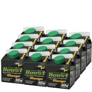 NOVOX Liquid Protein Boost-Aufkonzentriertes Eiklarprotein, Laktosefrei, Glutenfrei, Fettfrei, 60 Gramm Eiweiß, 10,4 Gramm BCAA (12 x 300 Ml Mango)