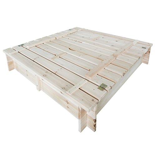 Habau 3022 Sandkasten mit Deckel und Bank, 120x120x20 cm