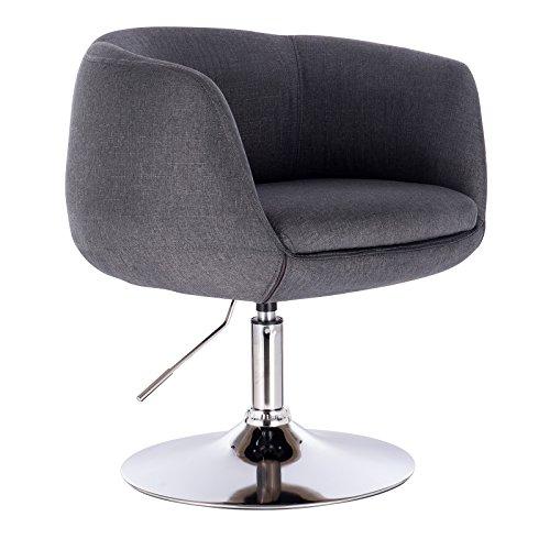 WOLTU BH70dgr 1 x Barsessel Loungesessel mit Armlehne, stufenlose Höhenverstellung, Leinen, Dunkelgrau