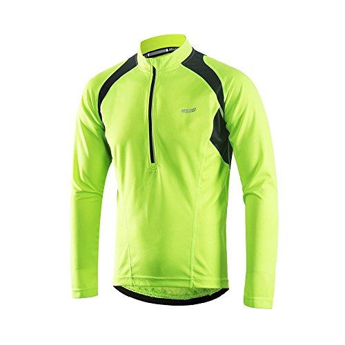 Arsuxeo Herren Radtrikot mit halbem Reißverschluss, Lange Ärmel, MTB-Fahrradshirt, 6031, Herren, grün, US M