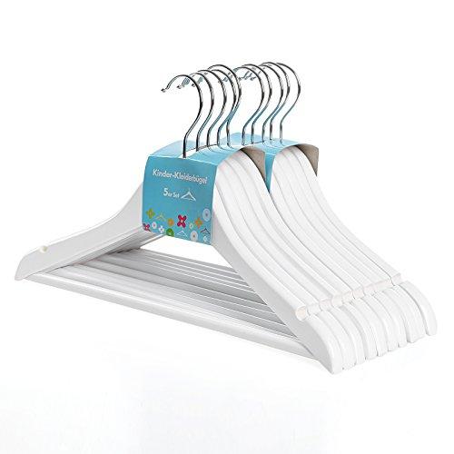 Songmics Kinder-Kleiderbügel aus Holz, 20 Stück, mit Steg, mit Kerben, 360° drehbarer Haken, Weiß, 35 cm CRW06W-20