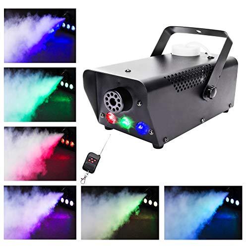 UKing Nebelmaschine 500W mit LED und Funk Fernbedienung RGB Lichteffekte für Halloween Hochzeit DJ Disco Party Bühne Licht