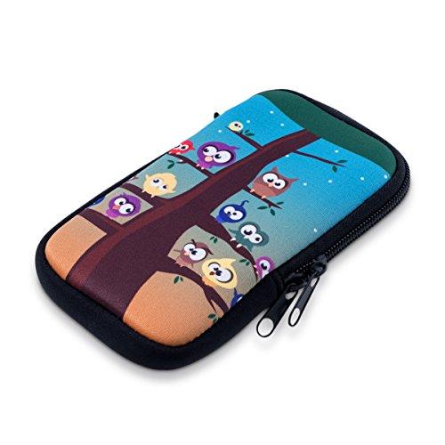 Handytasche Neopren Sleeve für Smartphones M - 5,5' - kwmobile Handy Tasche Case Schutzhülle mit Eule Baum Design Mehrfarbig Blau Braun - z.B. geeignet für Samsung, Apple, Wiko, Huawei
