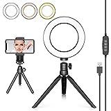 Neewer LED Ringlicht 6 Zoll mit Stativ für YouTube Video Live Streaming Make-Up Tisch Mini USB Kamera LED-Licht mit Handyhalter 3 Lichtmodi und 11 Helligkeitsstufen