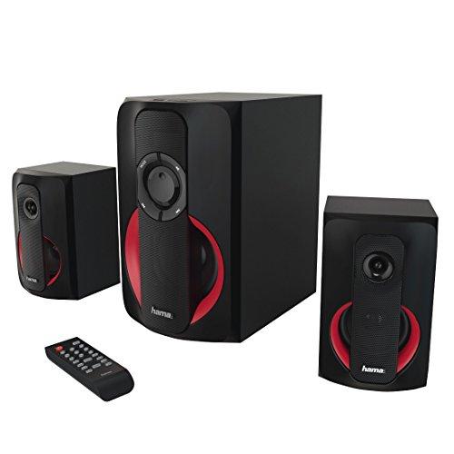 """Hama 2.1 Soundsystem mit Fernbedienung, 80W """"PR-2180"""" (für TV/PC, Aktiv-Boxen mit Subwoofer, Bluetooth, USB-Anschluss, SD-Karten-Slot) Heimkino Lautsprecher-System schwarz/rot"""