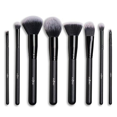 Make Up Pinsel Set Anjou 8pcs Professionelles Schminkpinsel Kosmetikpinsel Lidschatten Gesichtspinsel Eyeliner, schwarz, mit wasserdichtem Beutel