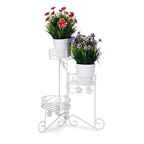 Relaxdays Blumenständer Metall, 3 Etagen, zum Klappen, dekorative Blumentreppe, vintage, innen & außen, H: 40 cm, weiß