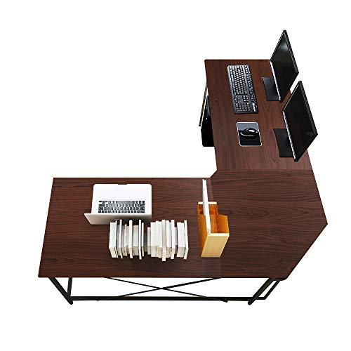 soges Eckschreibtisch L-Form Computertisch Winkelschreibtisch großer Gaming Schreibtisch Bürotisch Ecktisch Arbeitstisch PC Laptop Studie Tisch,150 cm + 150 cm,Walnuss LD-Z01-WN