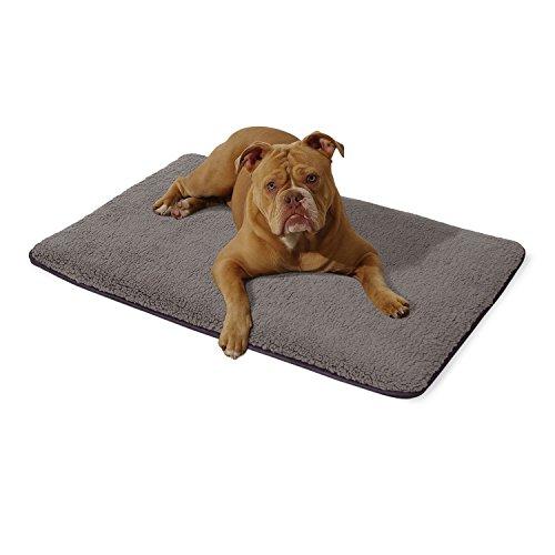 """brunolie """"Malu"""" mittlere Hundematte waschbar, hygienisch und rutschfest, Hundedecke passend für die Transportbox oder das Sofa in Grau, Größe M"""