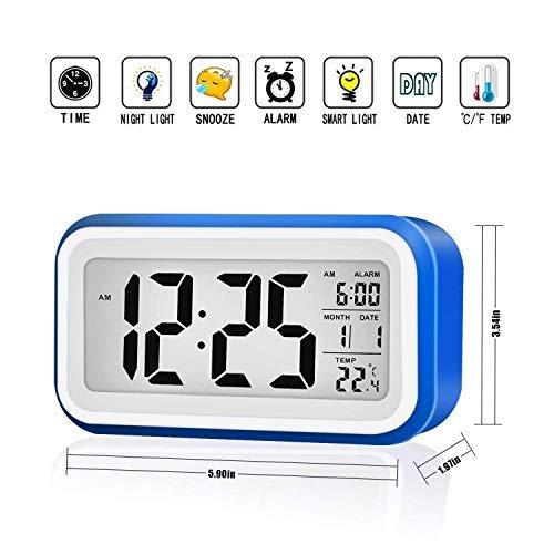VADIV Digital Wecker, großen Bildschirm Lichtsensor Berührungssensor Uhr Batterie betrieben USB Kabel, Snooze, Datum, Kalender Temperaturanzeige leiser für Kinder, Jugendliche, Teenager, Alte Leute