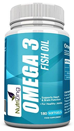 NutriZing Omega 3 ~ hochdosiert 2000mg, 660 EPA 440 DHA pro Portion~180 weiche Gele ~ Fischöl supplement pills ~ Nahrungsergänzungsmittel für Mann und Frau ~ herzkreislauf einfach cholesterinsenker