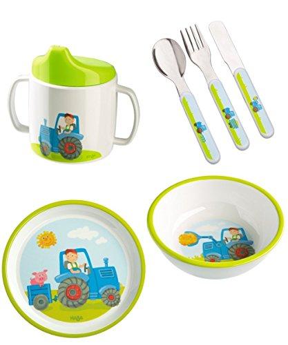 Haba Traktor Geschenkset 4-teilig mit Trinklerntasse I Teller I Besteck I Schüssel I Geburtsgeschenk, Taufgeschenk oder Mitbringsel